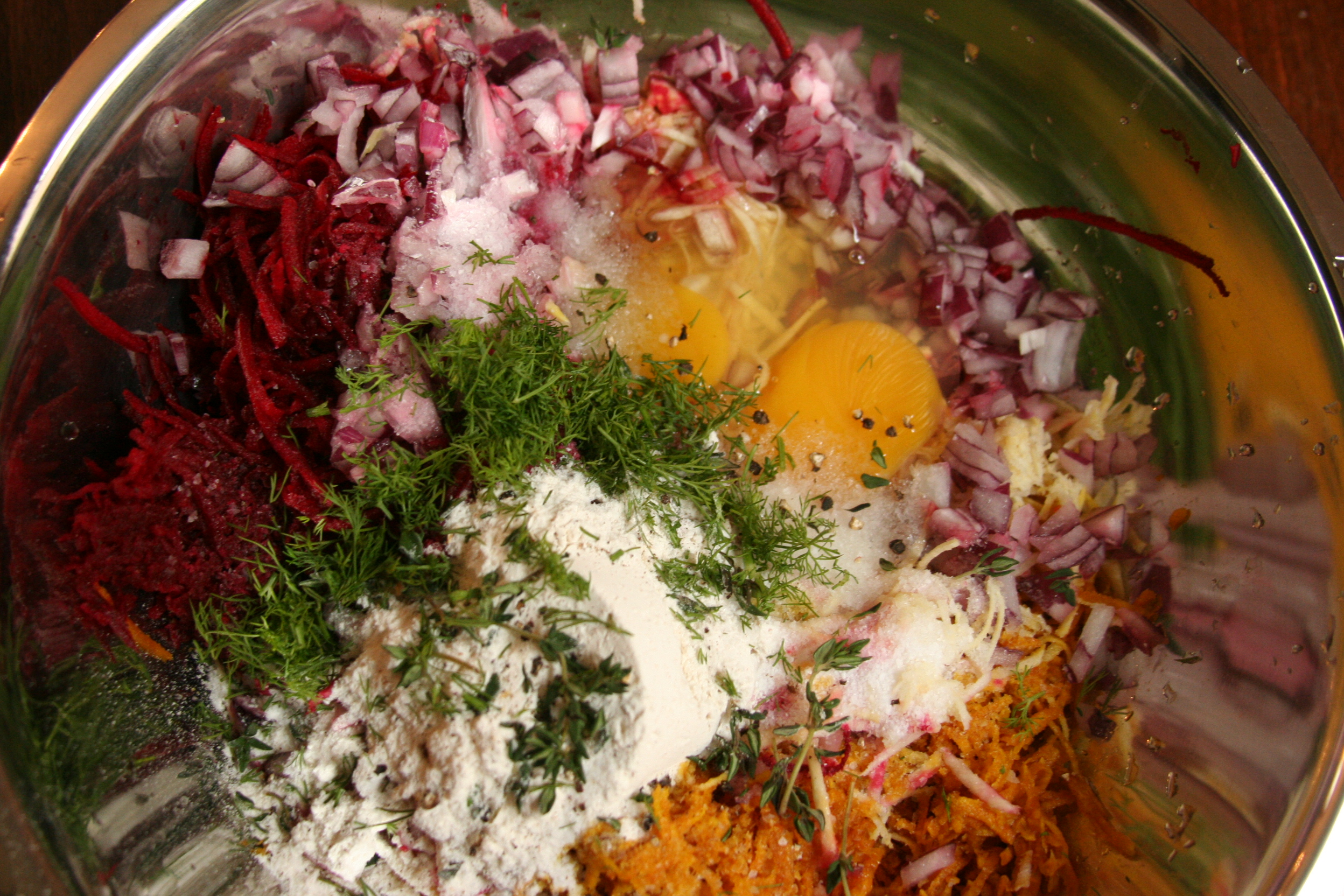 Root Vegetable Latkes with Lemon-Saffron Yogurt | Balaboostas